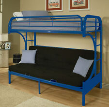 NEW YALE CONTEMPORARY BLUE FINISH METAL TWIN OVER FUTON BUNK BED