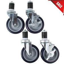 Set Of 4 5 Work Table Equipment Stand Swivel Stem Casters Caster With Brakes