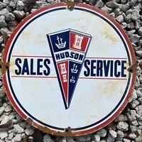 VINTAGE HUDSON CAR PORCELAIN SIGN OIL GAS PETROLIANA SALES SERVICE AUTO LUBE USA