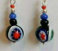 Vintage Venetian MURANO MILLEFIORI Bead 925 Drop Dangle Earrings match necklace