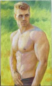 Original Oil Painting, Male Nude,Man, Boy, Model, Beauty, Hand Made