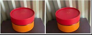 2x New Kate Spade Round Gift Box, Pink Orange