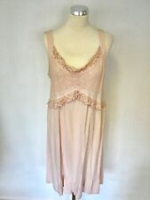 GHOST NUDE PINK EMBROIDERED FRILL EDGE TRIM DRESS SIZE LL UK 14/16