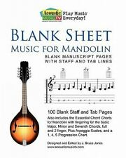 Blank Sheet Music for Mandolin : Blank Manuscript Pages with Staff and Tab...