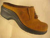Ariat Mendocino Tan Leather Tassel Mules Slip on Western Clogs Women's Size 8B