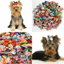 More details for pet dog cat hair bows rubber bands headdress - pack of 30 / 100