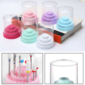 48-Holes Nail Drill Bit Display Holder Standing with Cover Manicure Storage Box