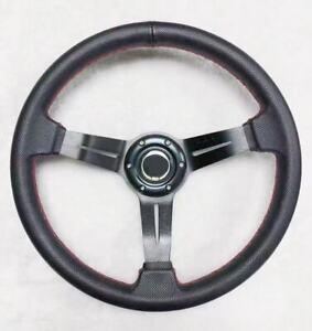 UKNEST Universal Steering Wheel 350mm Diameter Half Deep Dish High Quality Black