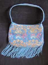 Valerie Stevens turquoise teal gold rose floral small purse evening bag fringed