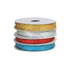 Metallic Glitter Wired Christmas Ribbon, 10-Yards