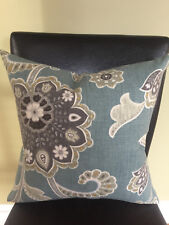 Decorative Pillow Cover Teal Gray Cream Off White Gold Large Floral Pattern
