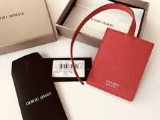 Giorgio Armani Red Leather Card ID holder luggage tag
