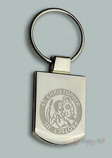 Engraved ST CHRISTOPHER + your text - Personalised Keyring Boxed