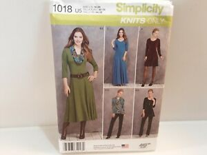 2015 Simplicity Sew Pattern 1018 Knits Only Dress Tunic & Pants Size 16-24 Unct