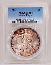 1986 U.S. $1.00 Silver Eagle PCGS MS-65 Choice Toning