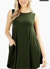 Zenana Outfitters 1X Tunic Top Stretch Jersey Sleeveless Trapeze Pocket Green
