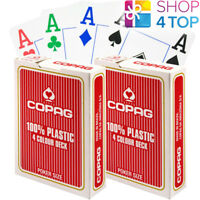 2 DECKS OF COPAG 4 COLOUR RED JUMBO INDEX 100% PLASTIC POKER CARDS NEW