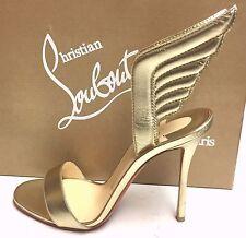 Christian Louboutin Samotresse 100 Gold Nappa Wings Sandals Pump Heel Shoes 38