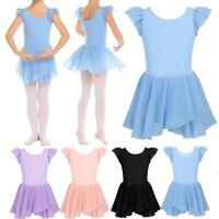 Girls Gymnastics Ballet Dance Tutu Dress Leotards Glitters Skirt Show Costumes