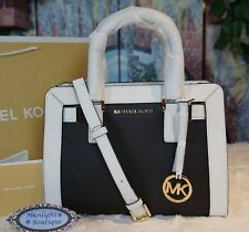 NWT MICHAEL KORS DILLON Top Zip Small Satchel Crossbody Bag BLACK/WHITE $328
