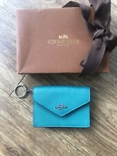 Genuine Coach Envelope Card Coin Purse Grained Leather Turquoise Teal Green