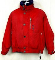 Vtg Bogner Arctic WB Mens Ski Coat Goose Down Red Jacket Zip Snap Size 38 Large