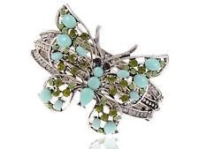Ali-Market Sea Foam Blue Bead Peridot Crystal Rhinestone Butterfly Bangle Cuff