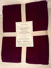 Williams Sonoma Linen Double Hemstitch Tablecloth 70x90 Garnet Wine Purple
