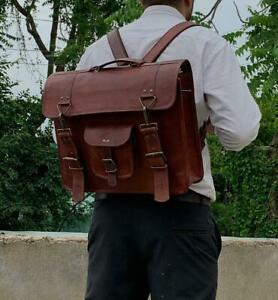 Unisex Vintage Genuine Leather Laptop Briefcase Messenger Satchel Backpack Bag