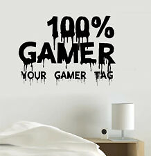 100% Gamer Video Game Personalized Gamer Tag Vinyl Sticker Decal Art Accessories