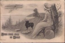 (10mr) Postcard: Lady and Dog