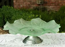 1930s green glass cake stand ~ Vintage tea party
