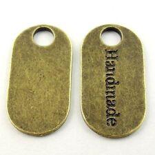 "20X  Antique Bronze Tone 23*11*1mm "" Handmade""  Pendant Charms Findings"