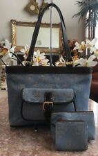 New Dooney Bourke Signature Blue Canvas Leather Pocket Satchel Tote MSRP $398