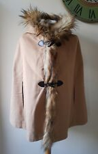 Pink Lady Cashmere Wool Cape Hooded Poncho Flux Fur Size Large