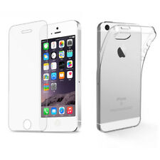 Hülle Panzerglas für iPhone SE 5s 5 TPU Case Silikon Schutz Bumper Tasche Cover