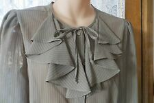 VINTAGE  60'S  does 40'S ~ GIORGIO  ~ Green Pinstripe ~  BLOUSE/TOP * Size 10 *