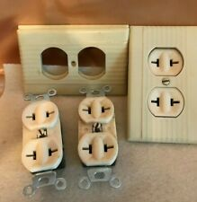 LOT OF 3 VINTAGE BRYANT WALL POWER OUTLETS/RECEPTACLES-IVORY BAKELITE COVERS-NOS