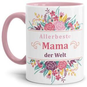 """Mama-Tasse """"Allerbeste Mama der Welt"""" - Rosa / Cup / Becher / Schön / Blumen"""