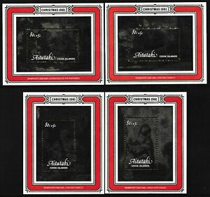1981 AITUTAKI CHRISTMAS WITH SURCHARGES SET OF 4 MINI SHEETS FINE MINT MNH
