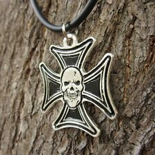 E35 SKULL GERMAN IRON CROSS PENDANT UNISEX PEWTER WOMEN PUNK NECKLACE MEN BIKER