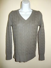 LULU & BRAVO 100% CASHMERE GRAY OLIVE TINT V-NECK LONG SLEEVES CABLE SWEATER XS