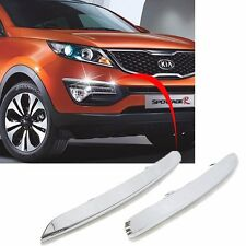 OEM Chrome Front Bumper Eye Line Molding Trim Garnish 2p For 11-15 Kia Sportage