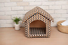 New Outdoor Brown Plaid M size Comfy Pet  House Storage with  Removable Cushion