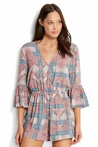 Seafolly Pink Blue Print Dawn To Dusk Playsuit Romper Size S Flared Sleeve Women