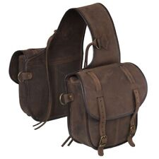 Tough-1 Soft Leather Saddle Bag Two Pockets Saddle Strings/Dee Ring Attachments