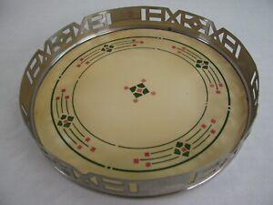 Vintage Art Deco Porcelain Ceramic Pierced Metal Frame Serving Tray Wine Coaster