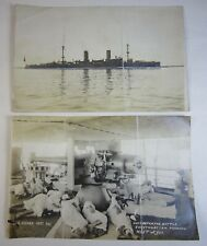 Antique c1910 Two Photograph USS Cleveland (C-19) in Philippines & Shanghai