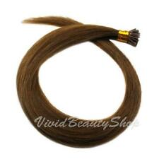 100 I Stick Glue Tip Micro Bead Straight Remy Human Hair Extensions Light Brown