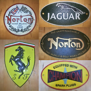 Cast iron plaque multi listing | Retro heavy duty metal sign for garage man cave